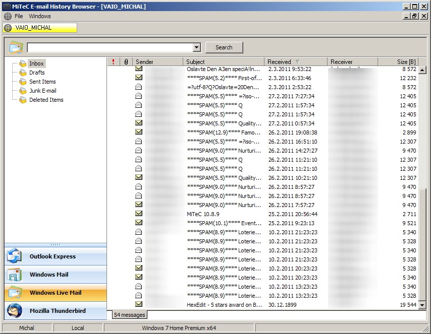 MiTeC E-mail History Browser screenshot