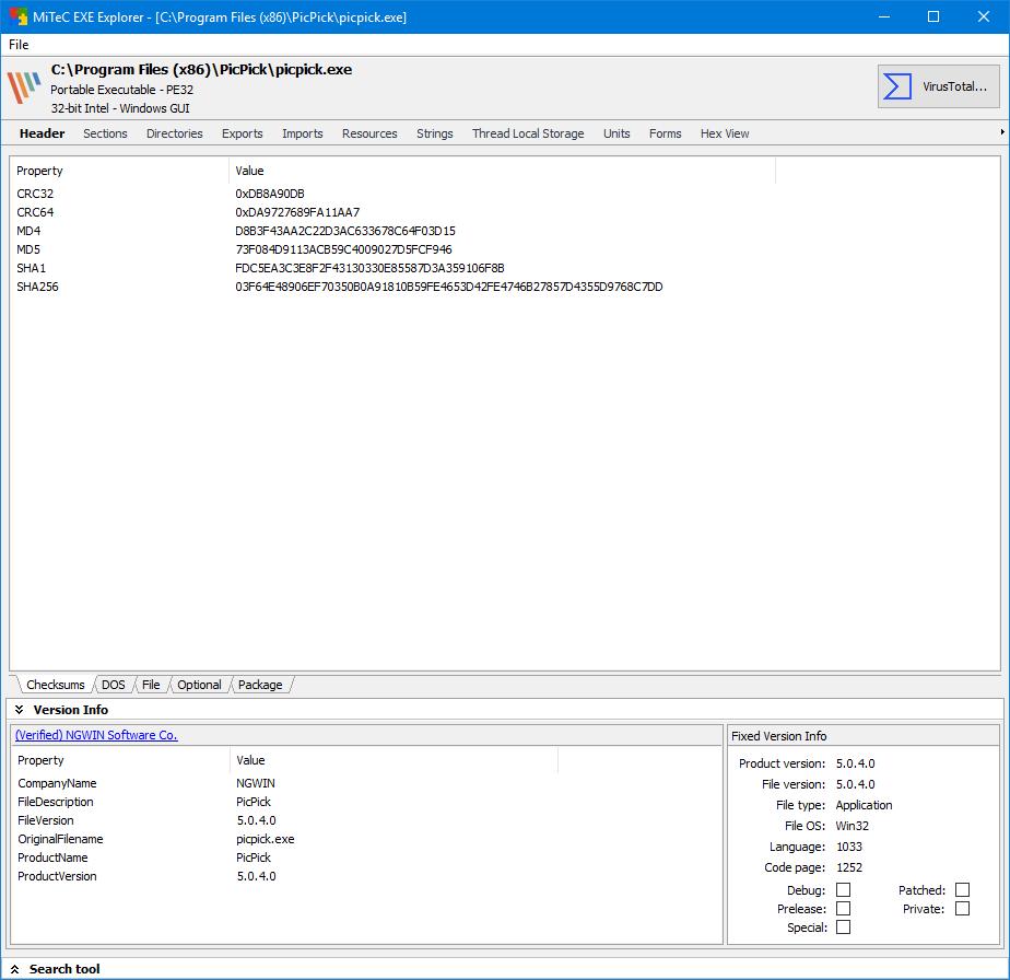 MiTeC EXE Explorer full screenshot