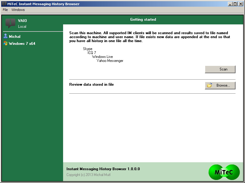 Windows 7 MiTeC Instant Messaging History Browser 1.2.1.0 full