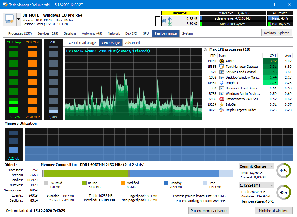 Windows 8 MiTeC Task Manager DeLuxe full