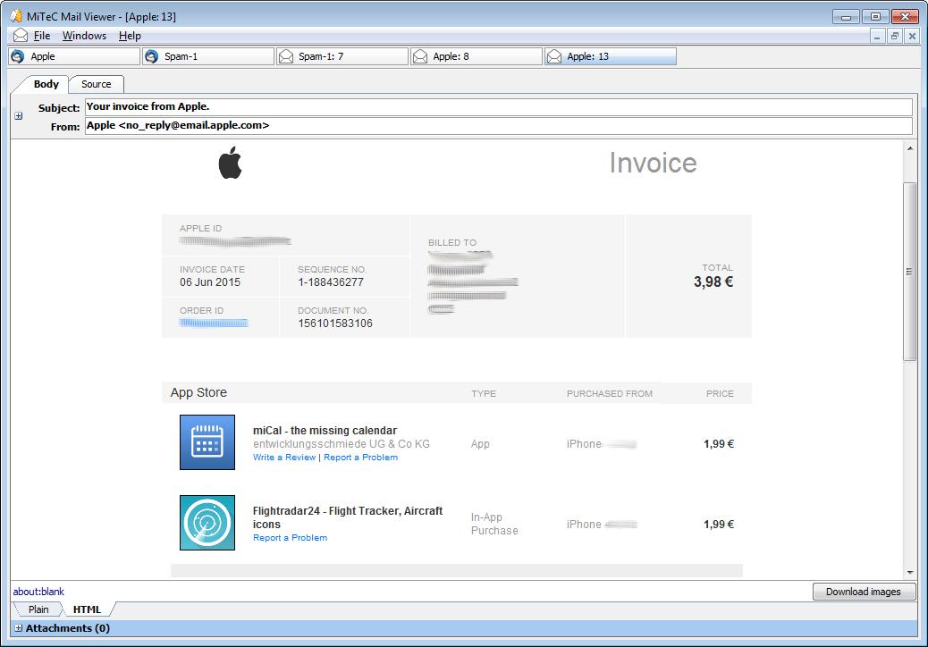 MiTeC Mail Viewer screenshot