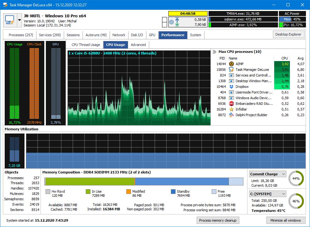 Full MiTeC Task Manager DeLuxe screenshot