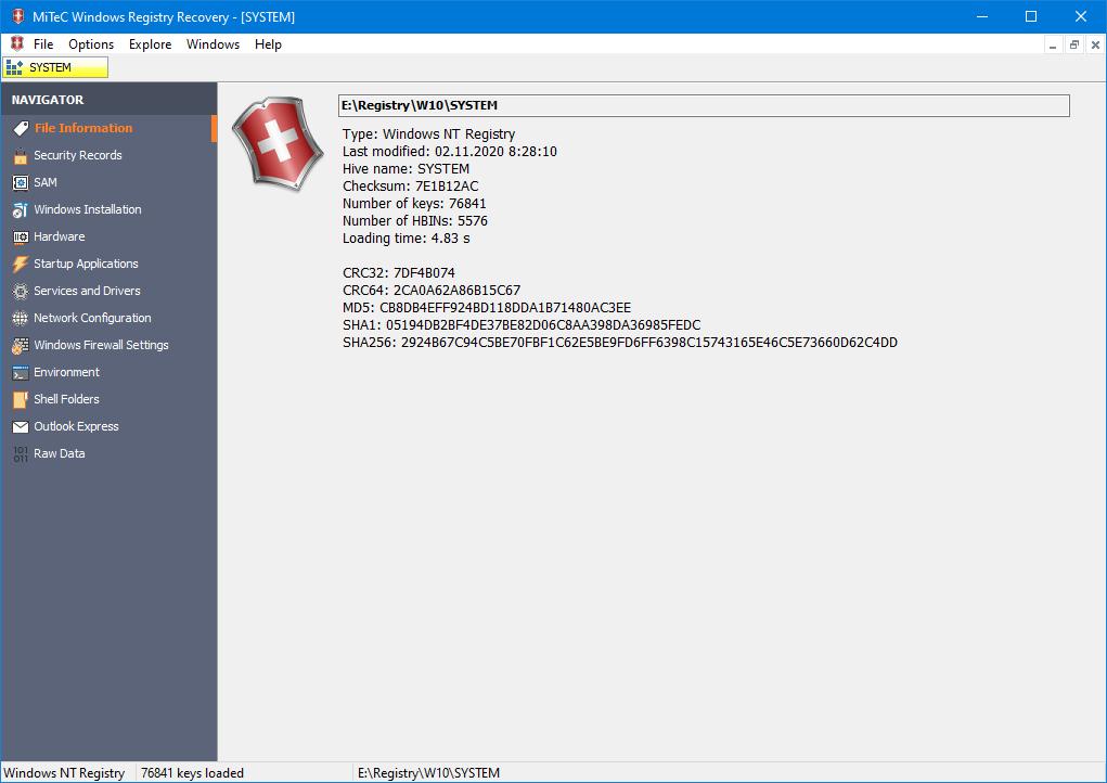 Windows Registry Recovery 3.0.0 full